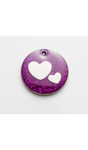 Purple Glitter Hearts Dog ID Tag by Bow Wow Meow