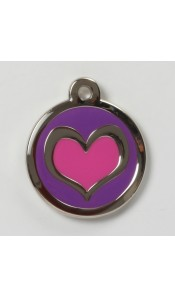 Pink / Purple Heart Pet ID Tag by Bow Wow Meow