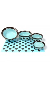 Stoneware Pet Dish Teal/Brown Spot by Rosewood