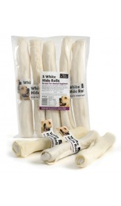 "White Hide Rolls Dog Chew 10"" approx."