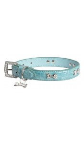 Luxo Blue Diamante Bone Faux Croc Dog Collar