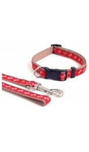 Wag 'n' Walk Nylon Adjustable Dog Collar Red-Beige Bones
