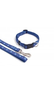 Wag 'n' Walk Nylon Adjustable Collar Blue Paws