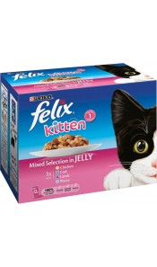 Felix KITTEN Mixed Selection in Jelly Fisjh & Meat 12 Pack